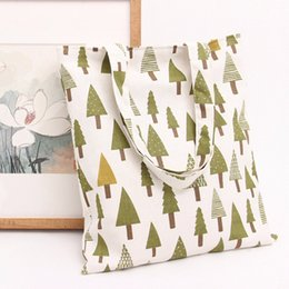 Wholesale Christmas Tree Specials - A simple large capacity bags Printed cotton Casual Cotton Linen Tree Print Women Girls Shopping Bag Lovely Canvas Special Purpose Bag