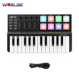 portable drum pad Coupons - WORLDE Panda MIDI Keyboard 25 Keys Mini Piano Ultra Portable USB Keyboard With Drum Pad MIDI Controller Professional