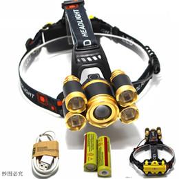 Wholesale Focus Light Bulbs - high power USB18650 headlamp waterproof focusing Headlight Led rechargeable light head lamp fishing lantern head Torch