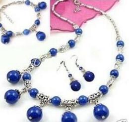 2019 juegos de joyas de lapislázuli Envío gratis joyería 001358 Tíbet plata Lazuli Lapis collar pulsera pendiente conjunto juegos de joyas de lapislázuli baratos