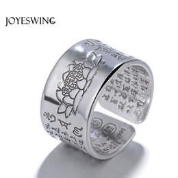 Lotusringe online-JOYESWING Neue Dekoration Schmuck Vintage Amulett Buddha Lotus Baltischen Buddhistischen Öffnung Ringe Für Männer Frauen Glück Geschenk Ring