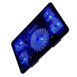 """Wholesale Laptop Stand Usb Fans - NA JU Laptop Cooler Pad 14"""" 15.6"""" 17"""" with 5 fans 2 USB Port slide-proof stand Notebook Cooling Fan with light"""