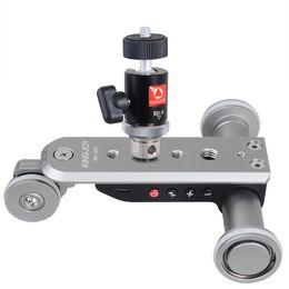ruedas de cámara Rebajas Kingjoy PPL-06S Mini aleación de aluminio motorizada Track Slider Motor Dolly Truck 3 ruedas coche Slider para cámara videocámara