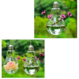 Wholesale Modern Decoration White Vase - 1pcs Glass Bulb Lamp Shape Flower Water Plant Hanging Vase Container Home Office Decoration (Without rope)