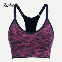 f299b23bae Romwe Sport Hot Pink Push Up Yoga Bra Crop Top Athletic Running Sports Bra  Women 2018 Grey Gym Fitness Padded Vest 2 Colors