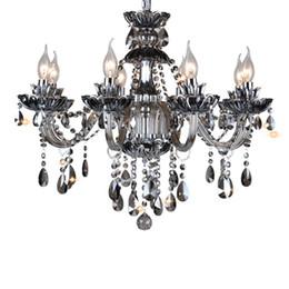 Lustres lustres on-line-Luxo moderno Lâmpada de Iluminação de Cristal em Preto fonte de Luz E14 com Lampshades Lustres de Cristal Lustres de Cristal