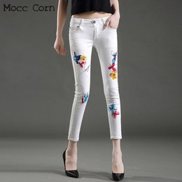 5e54a5a7277f Mocc Corn Cotton Stretch Skinny Painted White Jeans Woman Sexy Printed Slim  Tight Ankle Jeans Pencil Pants Denim Trousers Women