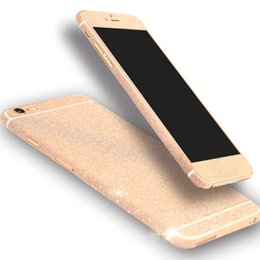 Wholesale glitter stickers iphone - Glitter Bling Shiny Full Body Sticker Matte Skin Screen Protector For iphone7 7plus Samsung S7 edge S8 plus Front+Back decals
