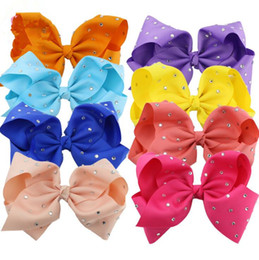 Wholesale Kids Rhinestone Hair Clips - kids Large Colorful Hair Bow Rhinestone Hair Bow With Clip Girl Dance HairPin Kids Crystal Party Hair Accessories KKA4387