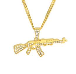 Ak47 gold on-line-Liga Ak47 Arma Pingente de Colar Congelado Strass Com Hip Hop Cubano Cadeia de Prata de Ouro Cor Das Mulheres Dos Homens de Jóias 2 PCS Presente de Natal