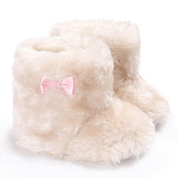 Wholesale Super Thick Girls - Sweet White Winter Boots Kids Baby Shoes Newborn Cozy Soft Fur Thick Hairy Super Warm Shoes Infant Babe First Walker For Girls