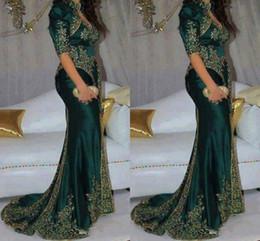 grüne indische promkleider Rabatt Wunderschöne dunkelgrüne Abendkleider Stickerei Perlen Pailletten indischen Stil halben Ärmel Abendkleider High Neck Meerjungfrau Partykleid