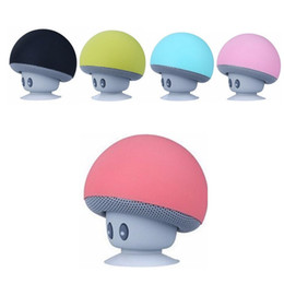 Wholesale Mini Silicone Bluetooth Speaker - Wireless Mini Murshroom Bluetooth Speaker Portable Bluetooth Subwoof With Waterproof Silicone Sucker Phone Holder For phone MP3 Tablet PC W