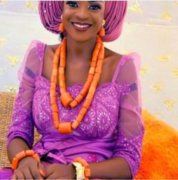 Afrika Gelin Takı Setleri Için Turuncu Orijinal Mercan Boncuk Takı Seti Nijeryalı Düğün Kadınlar Takı Hediye CNR863 nereden