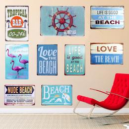 Винтажная пляжная живопись онлайн-COMPAS Plaque Metal Vintage Signs Home Wall Art Posters Painting Decorative BEACH Plates For Bar Cafe Pub Garage 30x20cm N113