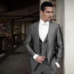 rivestimento di nozze degli uomini d'epoca Sconti Italiano Shinny Grey Uomo Suit Wedding Man Giacca giacca Vintage formale Business Vest Pants Slim Fit Smoking dello sposo Sposo Suit 3 pezzi