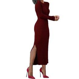 Nuove donne sexy lavorate a maglia lungo abito divise costano maglione  abito manica lunga o-collo casual da donna slim bordeaux onesize b7f18211862
