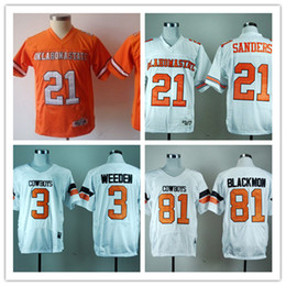 Wholesale Cowboy Kids - Youth NCAA College Oklahoma State Cowboys Barry Sanders Jerseys stitched Kids #21 Barry Sanders OSU Cowboys throwback Football Jersey S-XL