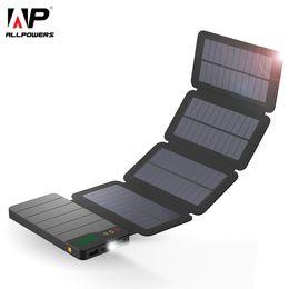Carregador de telefone celular solar para samsung on-line-Allpowers 10000 mah banco de energia solar à prova d 'água carregador solar pacote de backup de bateria externa para celular tablet comprimidos iphone samsung