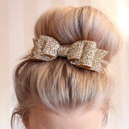 """Детские украшения из золота онлайн-4.5"""" Shinely Kids Glitter Hair Bow With Hair Clips Decoration Ornaments Hairpins Hairgrips Gold Accessories For Women"""