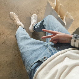 Ragazzi blu jeans lavati online-Alta qualità 2018 Moda luce blu lavaggio harem studenti hip hop luce blu jeans strada ragazzi denim cowboy pantaloni casual alla caviglia lunghezza