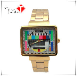 Wholesale Wrist Machine - Luxury Brand Men Gold Steel Alloy Band Quartz Watches Japanese pc21 movement Square TV machine design women Casual Wrist watches
