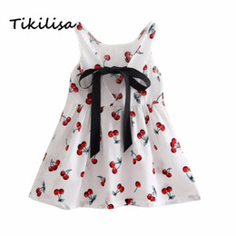 Wholesale knee length teen dresses - Tikilisa Baby Girl Dress Children Summer infant Cute Princess Dress Kids Teens Sleeves Printing Pattern cotton clothes Vestidos
