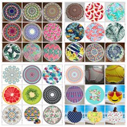 Wholesale Microfiber Blanket Soft - Round Beach Towel Bohemian Tassels Blanket Mandala Microfiber Shawl Soft Beach Towel Cover Yoga Mat Swimming Carpet 40 style YFA283-1