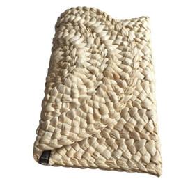 Wholesale braided handbag - Straw Knitted Women Clutch Elegant Female Braided Handbag Envelope Hasp Beach Bag For Ladies J217