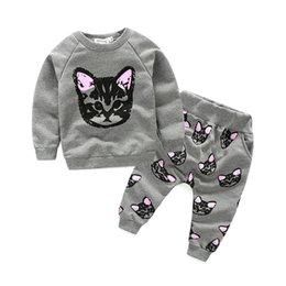 Wholesale 18 Month Girl Sweater - 2017 New Baby Girls Boys Kids Cat Two-Piece Long Sleeve O Neck Sweatershirt Sweater+Long Pants Outfits Sets
