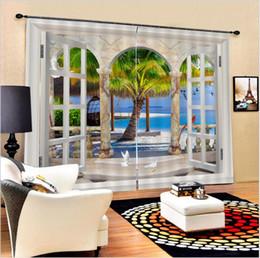 2018 Schönes Wohnzimmer Dekor 3D Blackout Vorhänge Seaside Bäume Schöne  Landschaft Vorhänge Schlafzimmer Wohnzimmer, Wasserdicht