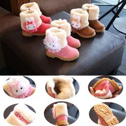 Bottes de neige en fourrure de lapin en Ligne-Enfants Bottes D'hiver Enfant Bébé Chaud et Doux Chaussures De Fourrure De Lapin Bottes De Neige pour Filles Mode Chaussures Confortables Pour Enfant