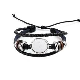 Canada Mode Bijoux DIY Multi Couche En Cuir Bracelet Bracelet Blanc Base Fit 20mm Ronde Photo En Verre Cabochon Réglage Lunette Plateau Fabrication de Bijoux Offre