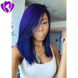 Wholesale white blonde short synthetic wigs - Side part ombre color Short wigs cut blue color Synthetic Lace Front bob Wig Heat Resistant Fiber For Black White Womem
