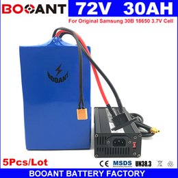 Wholesale wholesale e bike - Wholesale 5Pcs Lot 72v 30Ah E-Scooter Lithium Battery 3000W for Samsung 30B 18650 Cell +5A Charger E-Bike Lithium Battery 72V