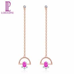 2019 modelli ornamenti d'oro Orecchini in oro rosa 18 carati con pietre preziose naturali con diamanti rubini Gioielli in pietra con pietre preziose per il miglior regalo della ragazza femminile Nuovo