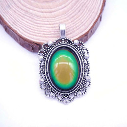 Wholesale color changing pendant - Unique Pendant Vintage with Mood Color Stone Change Alloy Emotion Feeling Changing Color Mood Necklace Pendants