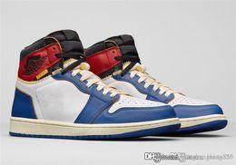best cheap 9e411 c79e4 2018 Top Authentic Union x 1 Haute OG NRG LA Tempête Bleu-Varsity Rouge  Blanc 1S Chaussure De Basket-ball Homme Sneakers BV1300-146 Avec Boîte  d origine