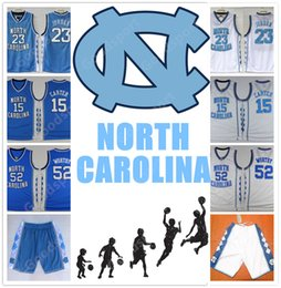 Wholesale North Men - HOT Stitched NCAA New Version North Carolina COLLEGE SHIRTS SHORTS 23 MICHAEL J WORTHY Sport CHEAP WHOLESALE Embroidered