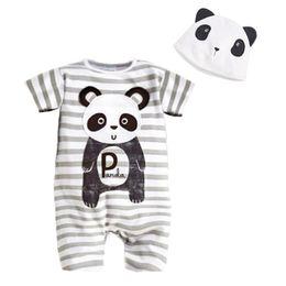 Cappello di panda estivo online-Cartoon Animal Short Pagliaccetto Hat 2PCS Set Summer Baby Boy Abbigliamento Baby Girl Abbigliamento Panda Panda Zebra Lion