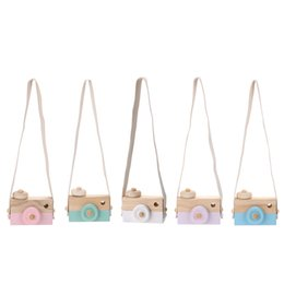 Wholesale Wooden Photography Props - Baby Kids Cute Wooden Toy Camera Creative Neck Hanging Camera Photography Prop Decoration Children Playing House Decor Toy