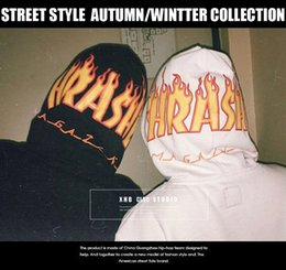 Wholesale Long Dance Sweaters - Europe and the United States street THRAS skateboarding street dance flames sweater brand Hip-Hop Hoodie Couples cotton male coat