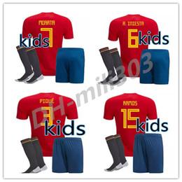Spanien online-2018 Kinder kit Spanien Trikot Junge Jugend Spanien kits RAMOS ISCO PIQUE SERGIO INIESTA ASENSIO THIAGO MORATA hause kinder fußball shirt Fußball-set