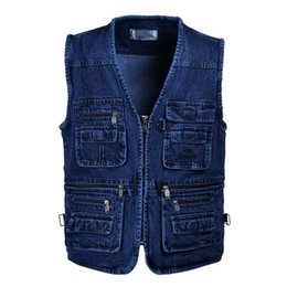 Wholesale Mens Multi Pocket Vest - MEN'S Autunm casual Cotton Denim Vest coat for men jacket Multi Pocket Mens vest Blue XL- 5XL