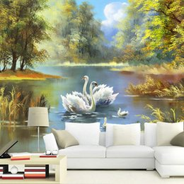 Wholesale Wall Painting Blue Green - Countryside Natural scenery painting canvas 5d Papel Murals 3d wall photo mural wallpaper for sofa background 3d wall mural