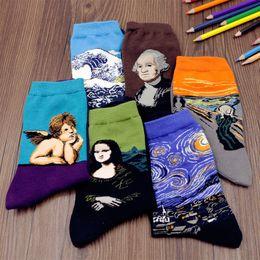 Wholesale Green Acrylic Paint - New Painting Art Men Women Socks Funny Novelty Starry Night Vintage Retro Cotton Socks