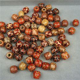 I modelli dei braccialetti dei branelli online-500pcs 12mm perline di legno assortiti rotonda dipinta modello barile perline di legno per monili che fanno braccialetto allentato distanziatore charms bead