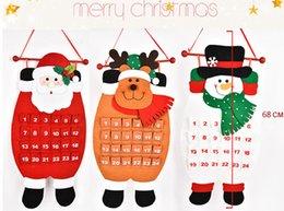 2019 glitterband großhandel rot Weihnachtskalender Weihnachtsdekor Hängender Kalender Weihnachtscountdown-Kalender-Weihnachtsdekorationen für Zuhause Frohes neues Jahr