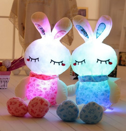Wholesale Pink Stuffed Bunny - 75cm LED Stuffed Easter Bunny Plush Rabbit Doll toys Colorfull light plush toys Valentine's Day Gifts for girls