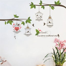 Wholesale Wall Stickers Trees Branches - Large Birds Birdcage Tree Branch Flower Floral Wall Sticker Decals Home Decor TV background Living Room Bedroom Mural poster